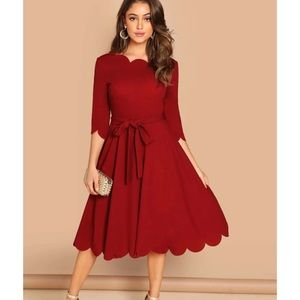 SHEIN Scalloped Neck Fit & Flare Dress with Belt